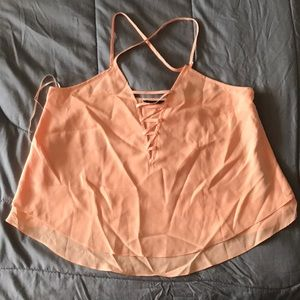 Coral lace up Guess top NWT